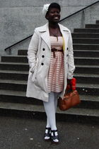 pink H&M dress - beige Suzy Shier coat - brown belt - white deena and ozzy hat -
