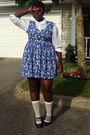Red-ardene-sunglasses-white-h-m-divided-shirt-blue-dress-white-socks-bla