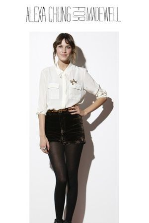 White-alexa-chung-for-madewell-shirt-brown-alexa-chung-for-madewell-shorts