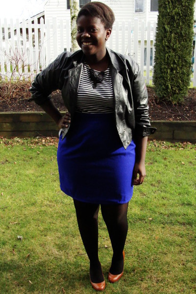 white t-shirt - blue skirt - black Value Village jacket - black American Apparel