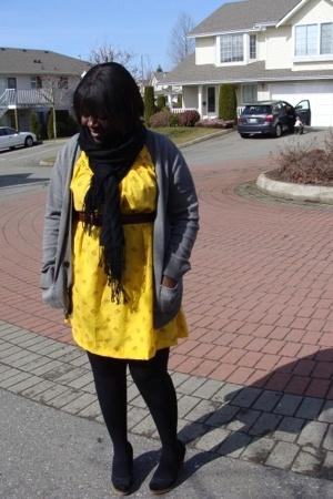dress - H&M scarf - Gap sweater - belt - payless shoes