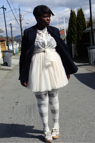navy thrifted blazer - ivory hm shirt - ivory American Apparel tights - ivory th