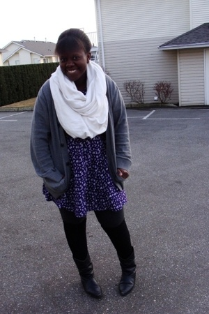 scarf - dress - Gap sweater - H&M socks - boots