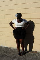 white H&M shirt - black Nenee skirt - black Old Navy shoes - gray Claires access