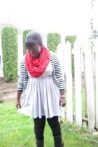 lo scarf - joe sweater - la vie en rose dress - boots
