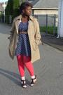 Blue-dress-pink-joe-fresh-stockings-white-socks-black-old-navy-shoes