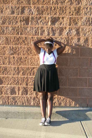 suspenders accessories - Old Navy skirt - American Eagle shirt