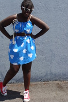 dress - belt - Urban Outfitters sunglasses - Converse shoes