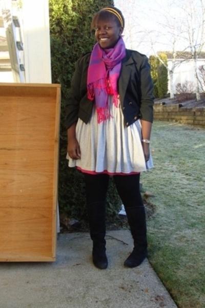 scarf - la vie en rose dress - jacket - boots - American Apparel accessories