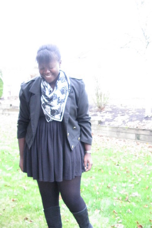 jacket - la vie en rose dress - shoes - H&M scarf