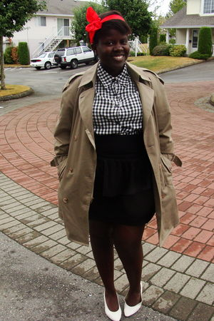 white shirt - beige Urban Renewal coat - black Nenee skirt - white shoes