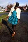 Teal-h-m-dress-cream-jacket-tawny-aldo-heels-cream-front-co-accessories