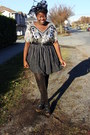 Silver-thrifted-sequin-top-black-thrifted-skirt-gold-glitter-drugstore-stock