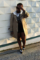 black thrifted blouse - black BDG shoes - camel Urban Renewal coat