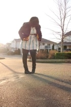 H&M sweater - boots - ae leggings - jacket - dress