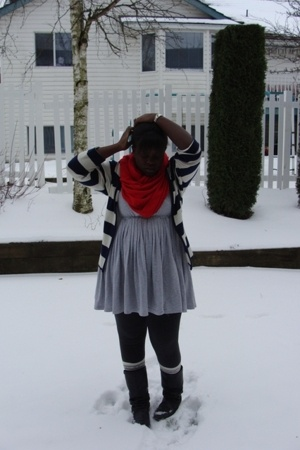 lo scarf - sweater - la vie en rose dress - f21 socks - boots