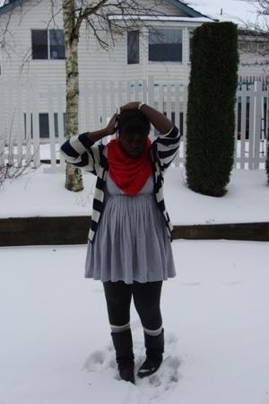 lo scarf - sweater - la vie en rose dress - f21 socks - boots