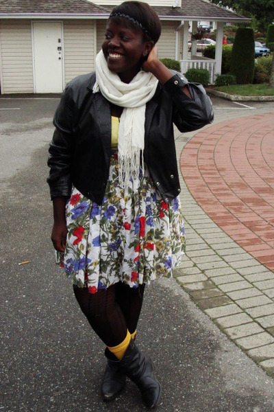whistle accessories - jacket - skirt - stockings - Forever 21 socks - boots