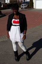 joe fresh style tights - Aerie t-shirt - skirt - jacket - boots - belt