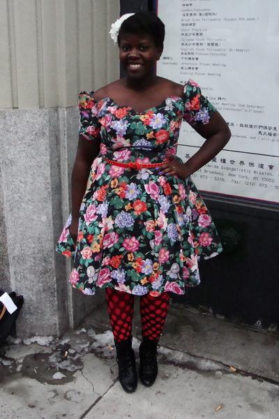 black Value Village dress - red Gap belt - red joe fresh style stockings - black