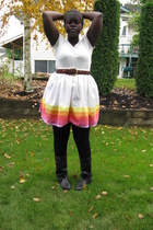 lo skirt - ae t-shirt - tights - shoes - belt
