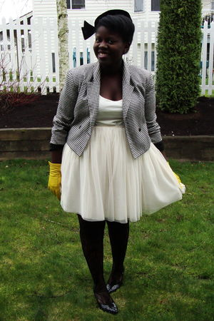 black thrifted jacket - white thrifted skirt - white H&amp;M shirt - gold Deena &amp; Oz