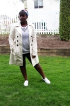 sweater - scarf - Suzy Shier jacket - Old Navy shorts - shoes