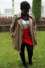 Red-skirt-beige-urban-renewal-jacket-white-old-navy-t-shirt-gray-cardigan-