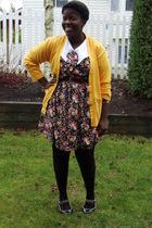 gold calvin klein cardigan - black dress - brown belt - black Hot Topic stocking