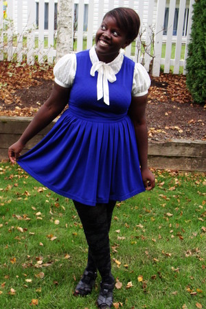 blue Forever 21 dress - black Old Navy shoes - cream H&amp;M blouse
