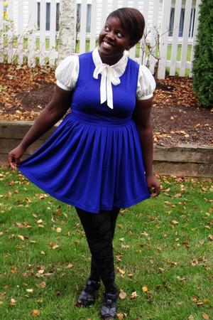 blue Forever 21 dress - black Old Navy shoes - cream H&M blouse