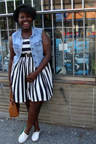 white shoes - white style is style modcloth dress - black H&M Mens hat - sky blu