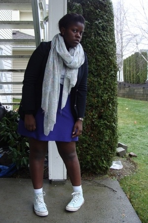 blazer - shoes - scarf - American Eagle socks - skirt - American Eagle sweater