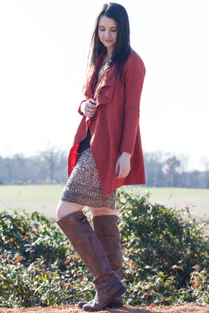 coat - leather Luxury Rebel boots - Target top - Zara skirt