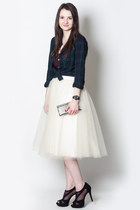 ivory tulle Anthropologie skirt - navy Jcrew shirt - black Jessica Simpson heels