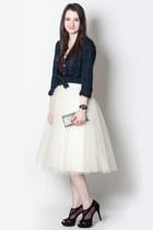 ivory tulle Anthropologie skirt - navy Jcrew shirt - black Jessica Simpson heels