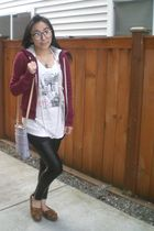 red abercrombie and fitch jacket - white Urban Outfitters t-shirt - black Nordst