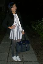 black banana republic blazer - blue American Apparel skirt - white pink t-shirt
