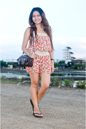 red f21 romper - dark brown Parisian bag - black Old Navy flats