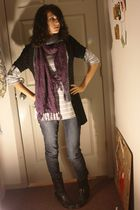 silver sweater - black cardigan - blue jeans - black boots - purple scarf - gray