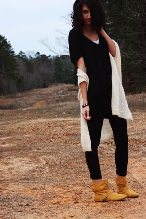 black dress - black leggings - white vest - gold boots - white