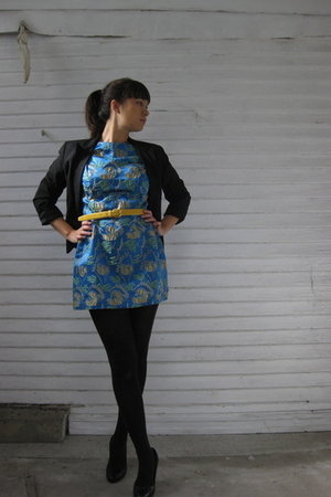 black Express blazer - blue thrifted dress - gold thrifted belt - black Target t