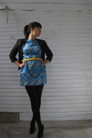 black Express blazer - blue thrifted dress - gold thrifted belt - black Target t