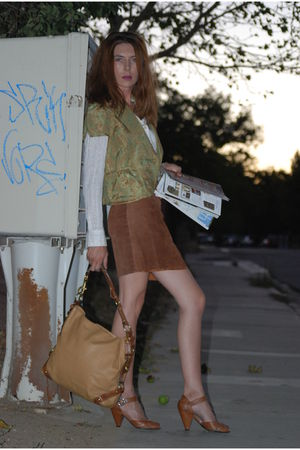 white Michael Kors shirt - brown Hush Puppies shoes - brown coach bag - brown In