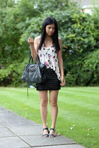eggshell hm top - charcoal gray balenciaga bag - black River Island sandals