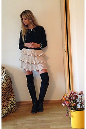 overtheknee H&M socks - unknown brand boots - H&M cardigan - Ebay skirt