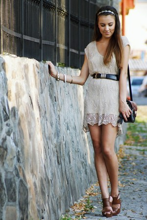 tan Topshop dress - dark brown Fendi bag - black escada belt
