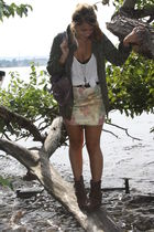 H&M jacket - H&M skirt - H&M top - balenciaga accessories - ebay boots shoes