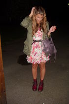 vintage dress - Dr Martens shoes - H&M jacket - balenciaga accessories