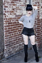 black 10th Tribe hat - black damsel claw Jeffrey Campbell boots